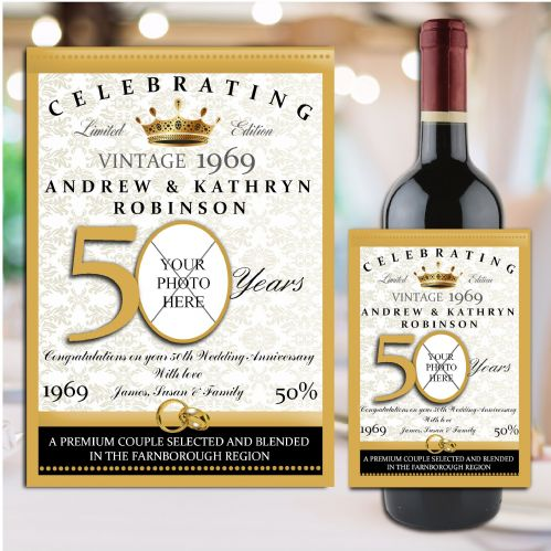 Personalised Golden 50th Wedding Anniversary Wine / Champagne Bottle Label N102